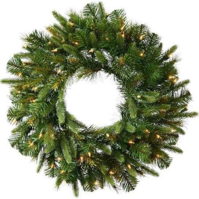 Vickerman K164625LED LED Platinum Dura-Lit White Wire Wreath with Warm White Lights - 24 in. - image 1 de 1