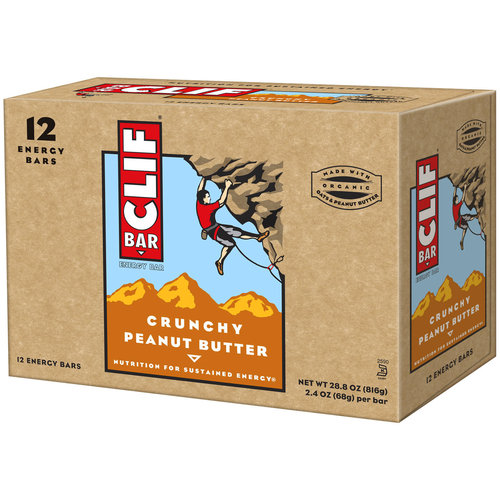 CLIF Bar Crunchy Peanut Butter Energy Bars, 2.4 oz, 12 count