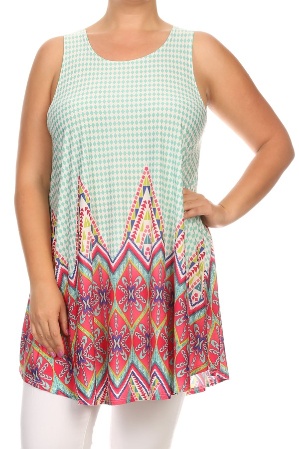 Women's PLUS trendy style sleeveless relaxed fit top.