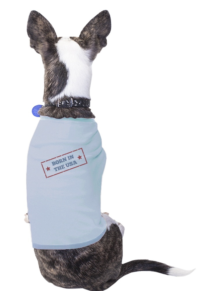 Born In The USA Sky Blue Pets Shirt Cotton American Flag Dog Tshirt