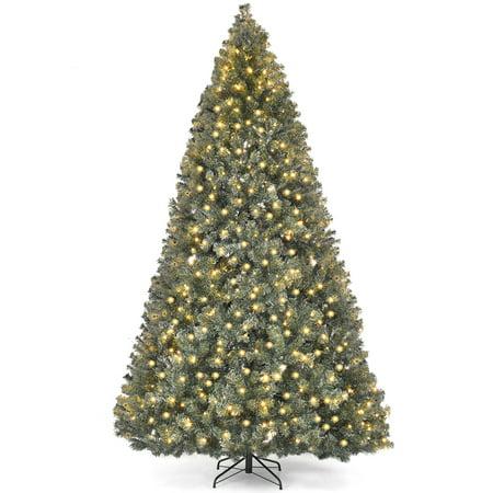 Costway Pre-Lit PVC Christmas Tree 9Ft Hinged 700 LED Lights Green ()
