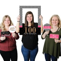 chic 100th birthday - birthday party selfie photo booth picture frame & props - printed on sturdy material