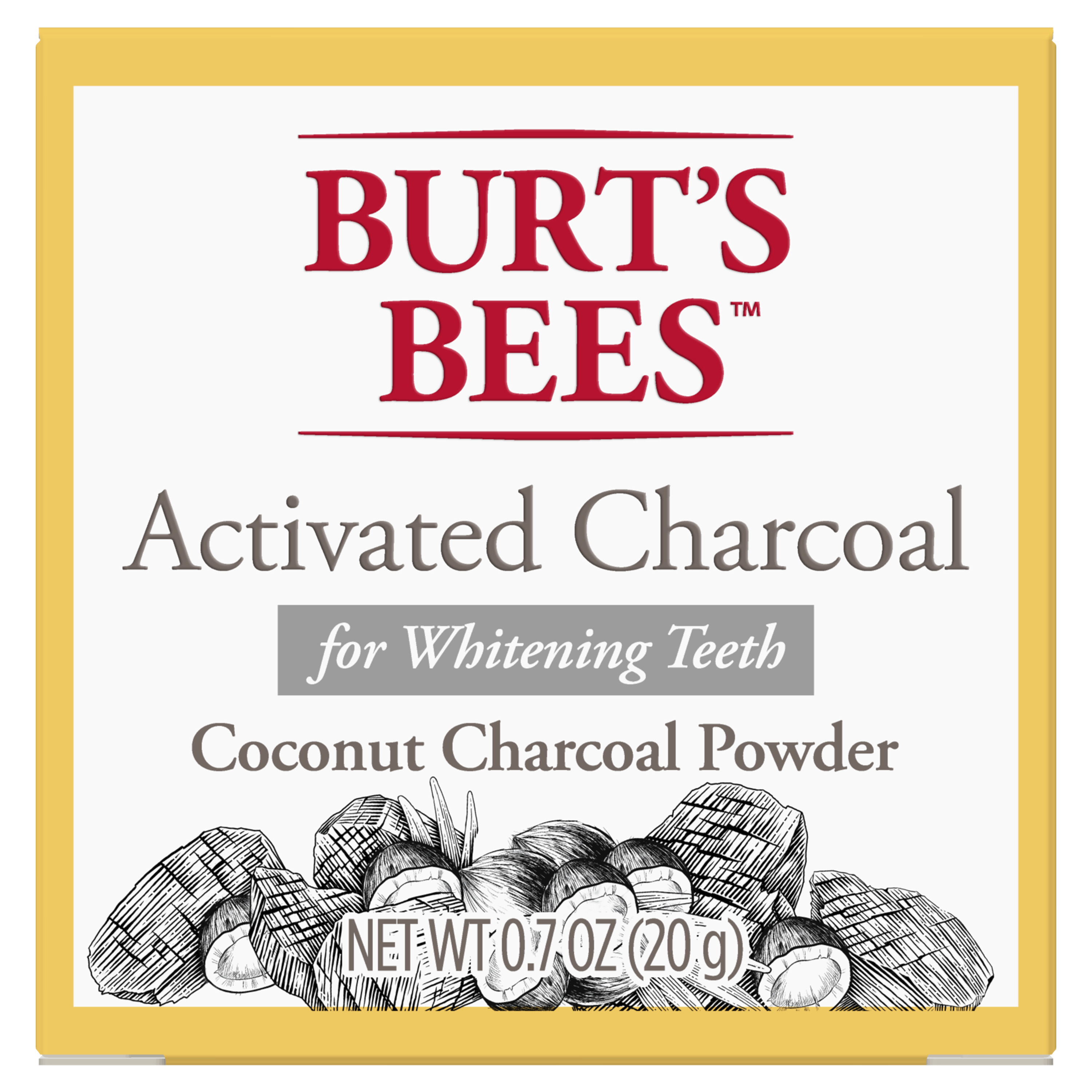 Burt's Bees Activated Coconut Charcoal Powder for Teeth Whitening, 20g
