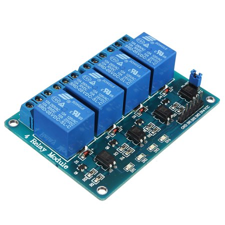 - 5V 4 Channel Relay Module For Arduino PIC ARM DSP AVR MSP430 Blue