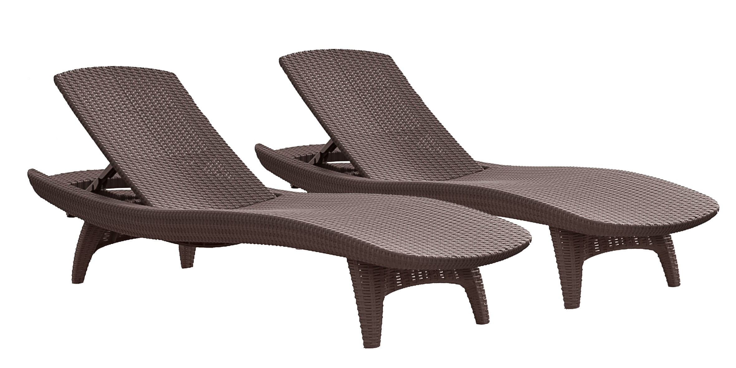 Keter Pacific Chaise Sun Lounger 2-Pack Adjustable, Brown by Keter
