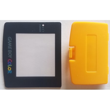 (Nintendo Game Boy Color Replacement Screen Lens + Yellow Battery Cover)