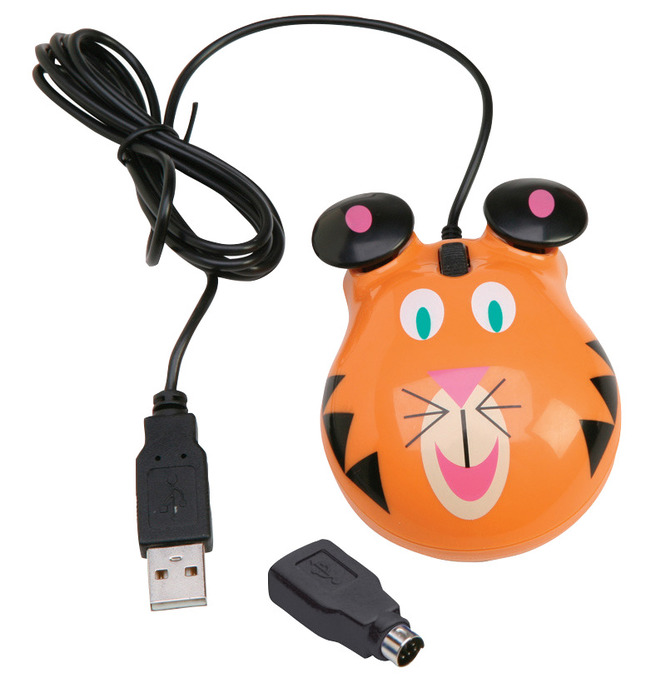 Califone Optical Tiger Themed Computer Mouse, ABS Plastic, 3-1/2 L x 2-1/2 W x 1-1/4 H in