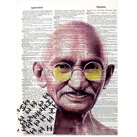 Art N Wordz Mahatma Gandhi Wearing Chanel Original Dictionary Sheet Pop Art Wall or Desk Art Print Poster