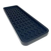 Silicone Kitchen Sink Organizer Tray and Sponge Holder, 12 inches x 4 inches, 9.2 ounces (BLACK)