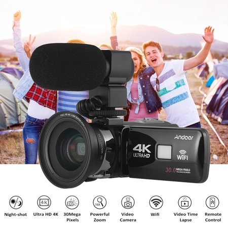 "Andoer 4K Ultra HD WiFi Digital Video Camera Camcorder DV Recorder 16X Zoom 3.0"" LCD Touchscreen IR Night Vision with  + External Microphone  + 0.39X Wide Angle Lens"