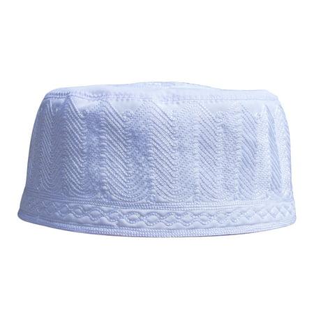 TheKufi® White Topi Embroidered 9cm Cotton-blend Muslim Kufi Takke Peci Hat - Cheap Pith Helmet