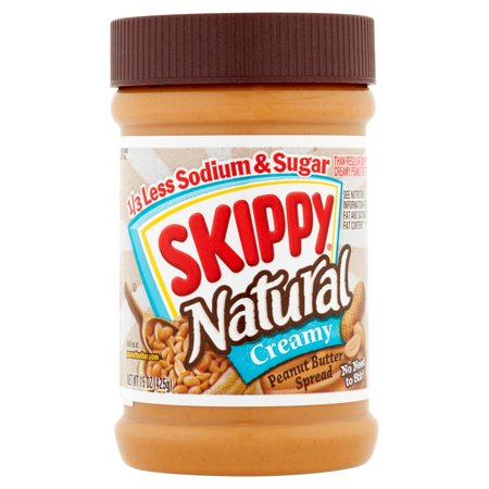 (3 Pack) Skippy Natural 1/3 Less Sodium & Sugar Peanut Butter Spread, 15 Ounce