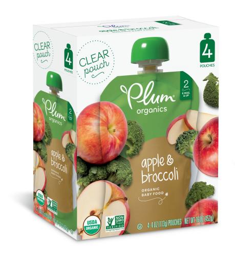 Plum Organics Stage 2 Apple & Broccoli, 4oz, 4ct
