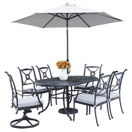 Stupendous Home Styles Athens Cast Aluminum 7 Piece Oval Patio Dining Set With Optional Umbrella Squirreltailoven Fun Painted Chair Ideas Images Squirreltailovenorg