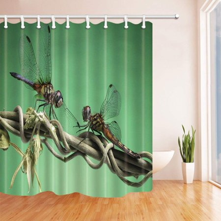 ARTJIA Insects Decor Little Dragonflies on Timbo Polyester Fabric Bathroom Shower Curtain 66x72
