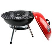 """Portable 14"""" Charcoal Grill Outdoor BBQ Grill Backyard Cooking Stainless Steel"""