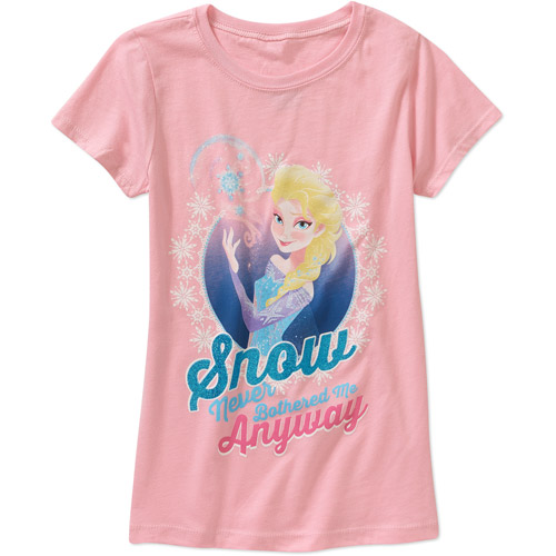frozen let it snow girls short sleeve graphic tee
