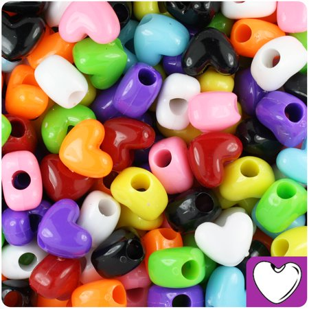 BeadTin Multi Colored Opaque 12mm Heart Pony Beads (250pcs)