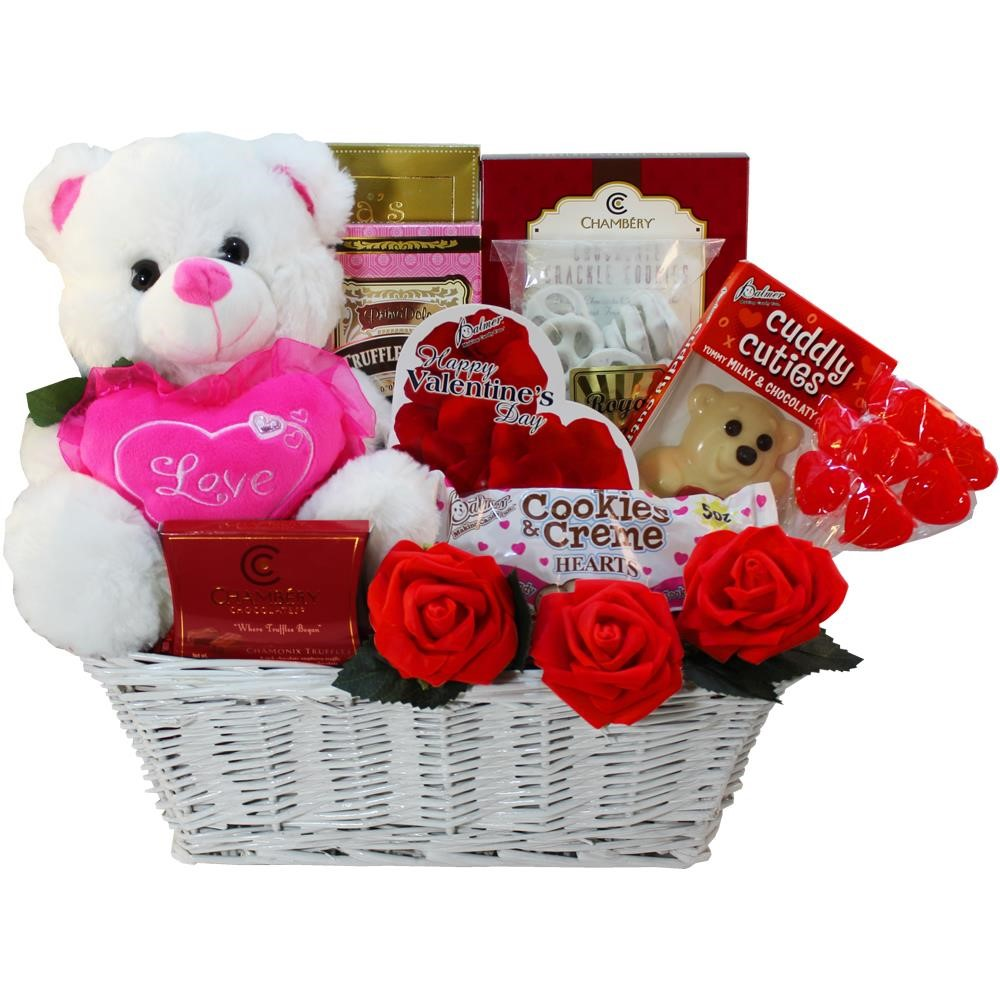 Valentines Treasures Chocolate and Candy Gift Basket with Teddy Bear