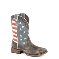 Roper 12In Mens Brown Leather American Flag Cowboy Boots 11D