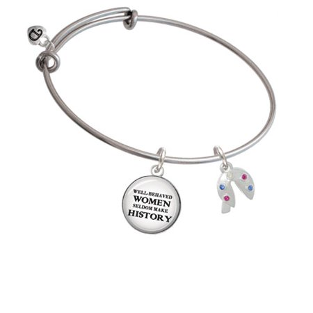 Multicolored Crystal Fortune Cookie Well Behaved Women Bangle Bracelet
