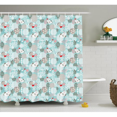 Elegant Shower Curtain Set Pattern With Birds Hearts Trees And Flowers Summertime Garden Floral Joyful Fun Cartoon Bathroom Decor Teal White Red