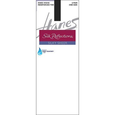 0c12f23c5cf Hanes - Silk Reflections Womens Knee High Reinforce Toe 2 Pack ...