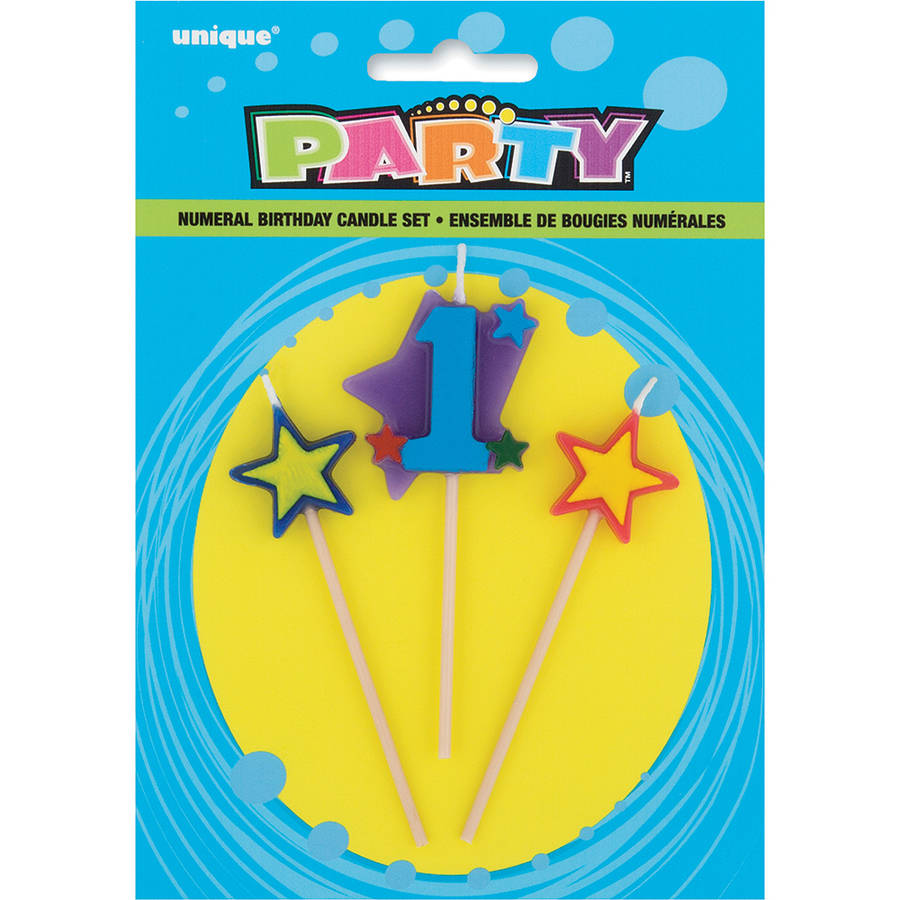 Stars & Number 1 Birthday Candles Set, 4 in, Multicolor, 3pc