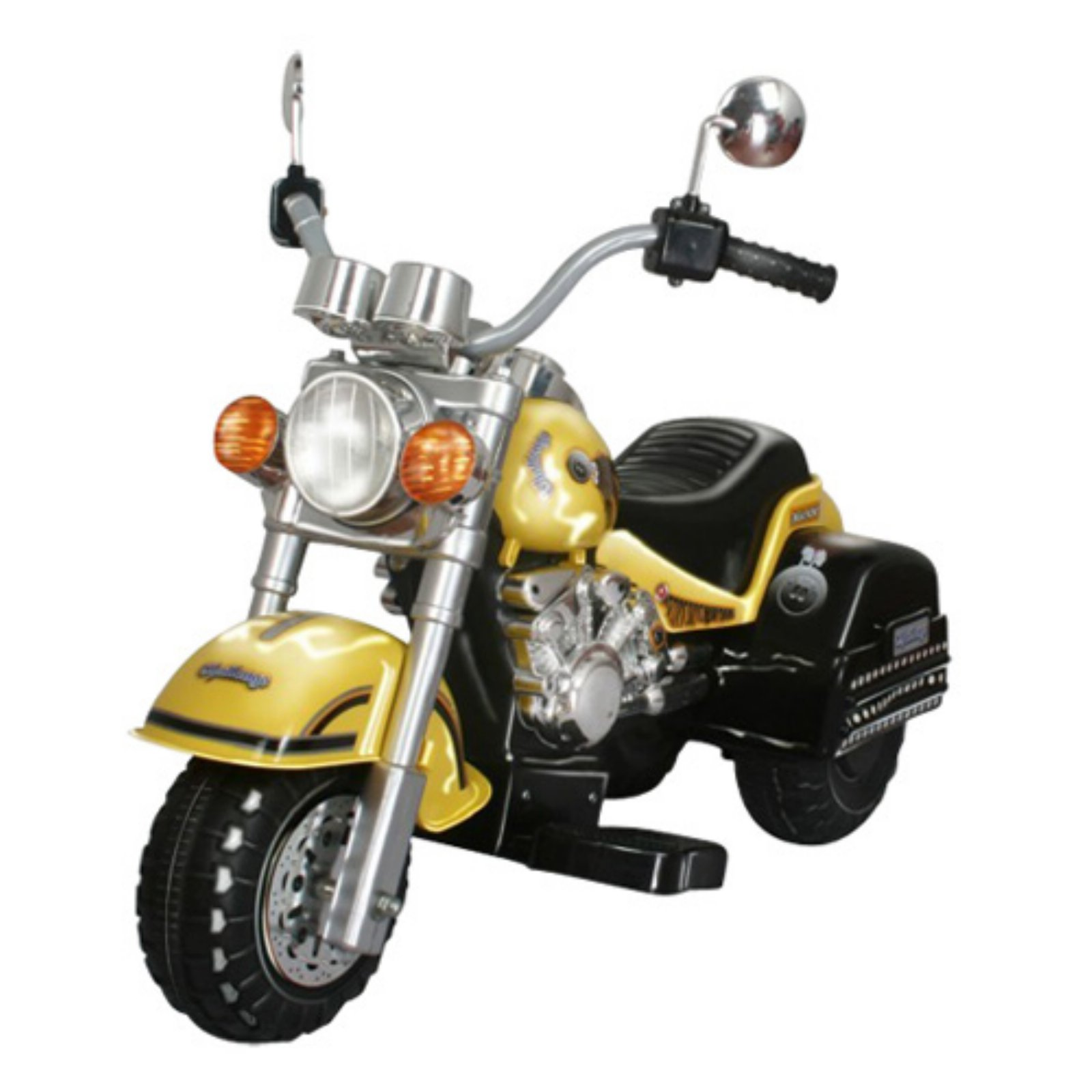 Merske Harley Chopper Style Motorcycle Battery Powered Riding Toy Yellow by Overstock
