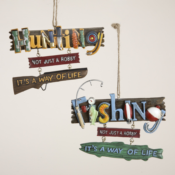 """Club Pack of 12 """"Hunting"""" and """"Fishing"""" Object Letters Christmas Ornaments 5"""""""