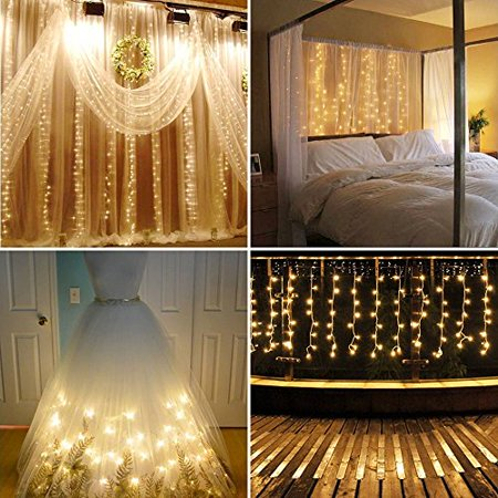 Neretva Led Light Window Curtain Icicle Lights 304led Linkable Warm White Christmas Curtain String Fairy Wedding Lights For Home Garden Kitchen