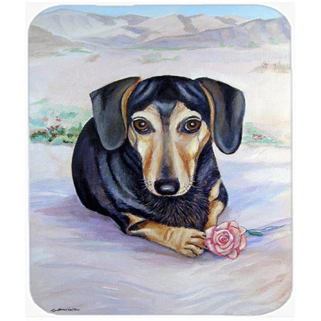 9.5 x 8 in. Black and Cream Dachshund Mouse Pad, Hot Pad or Trivet
