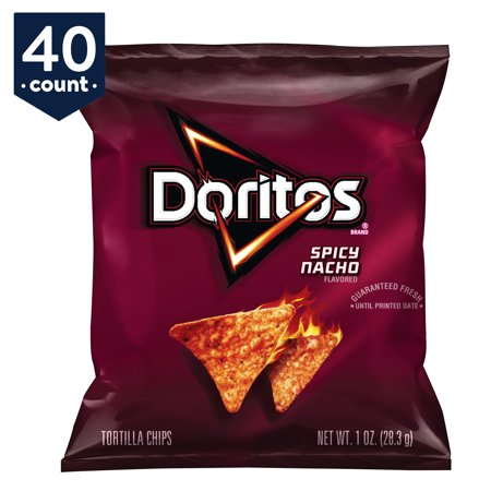 Doritos Tortilla Chips Snack Pack, Spicy Nacho, 1 oz Bags, 40 Count