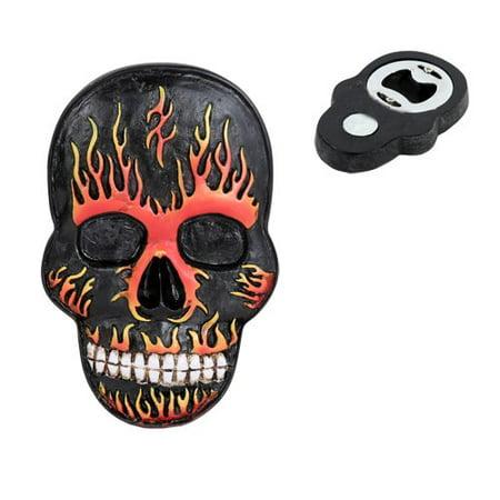 Flamed Hot Rod (El Diablo Flame Hell Hot Rod Skull Magnetic Bottle Opener Refrigerator Gadget )