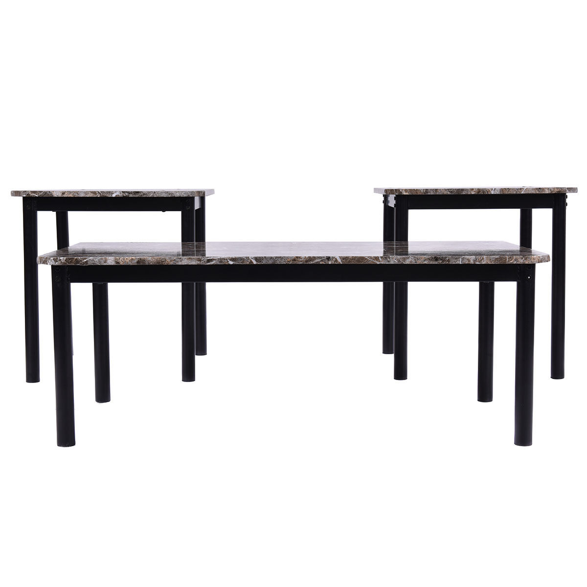 Marble Coffee Table Walmart: 3 Piece Modern Faux Marble Coffee And End Table Set Living