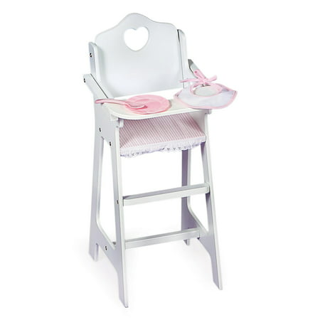 Badger Basket Gingham Doll High Chair with Plate, Bib, and Spoon - White/Pink - Fits American Girl, My Life As & Most 18