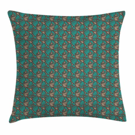 Brown and Blue Throw Pillow Cushion Cover, Abstract Flyaway Leaves with Curly Artistic Details Retro, Decorative Square Accent Pillow Case, 16 X 16 Inches, Umber Turquoise and Cocoa, by Ambesonne ()