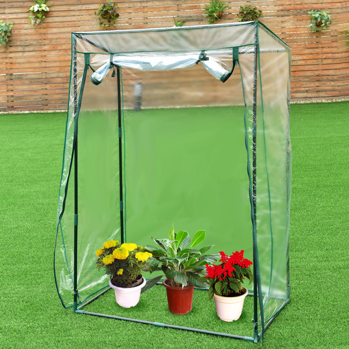 Costway 40''x20''x59'' Garden Greenhouse Grow House Plant Vegetable Growbag W/PVC Cover