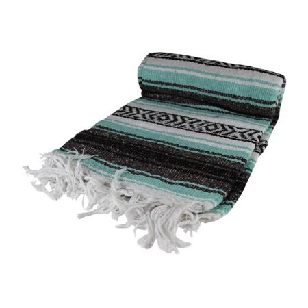 Kayso SW200M-GN Teal Green Mexican Blanket, 65 x 45 in. ()