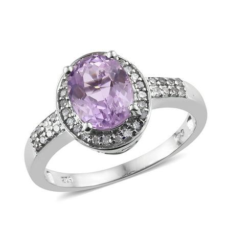 Women's Silver Platinum Plated Kunzite Diamond Halo Ring Gift Size 10 Cttw (Kunzite Ring)