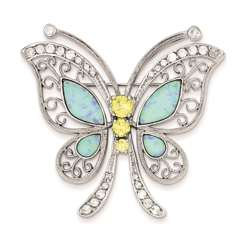 Blue Opal with Yellow and Clear Cubic Zirconia Butterfly Pin 45mmx46mm Sterling Silver by Fusion Collections