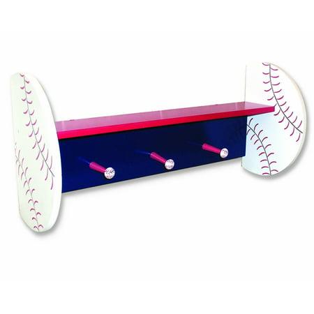 Baseball Peg - Baseball Shelf with Peg Hooks, Baseball shelf with pegs By Trend Lab