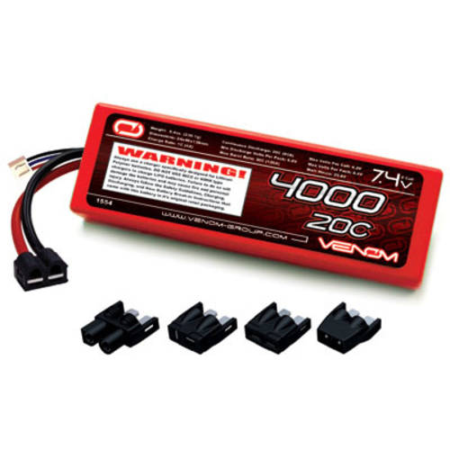 Venom LiPo Battery for Traxxas Slash 1:10 20C 7.4 4000mAh 2S with Universal Plug