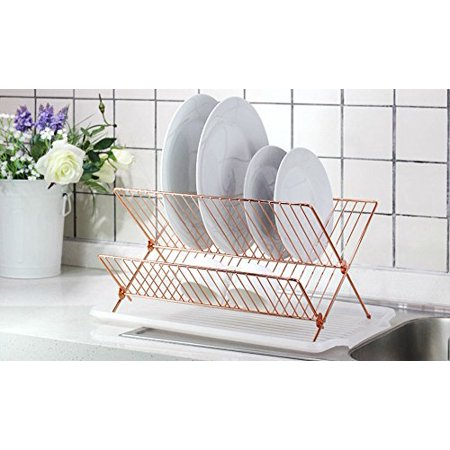 Neat-O Kitchen Foldable X Shape 2-tier Shelf Small Dish Drying Rack (Copper Color) ()