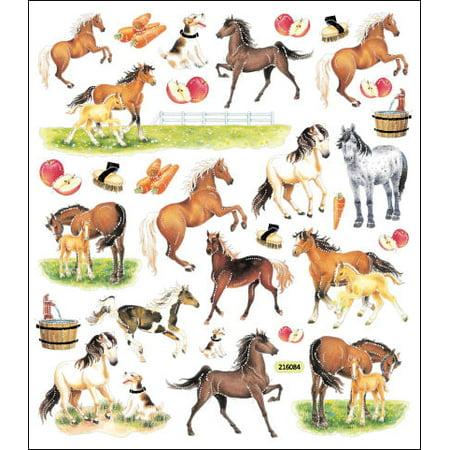 Multicolored Stickers-Horses On - Farm Tattoos