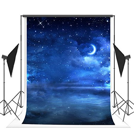 HelloDecor Polyster 5x7ft Blue Sky Photography Backdrops Summer Night Star Moon Photo Background for Chlidren](Full Moon Background)
