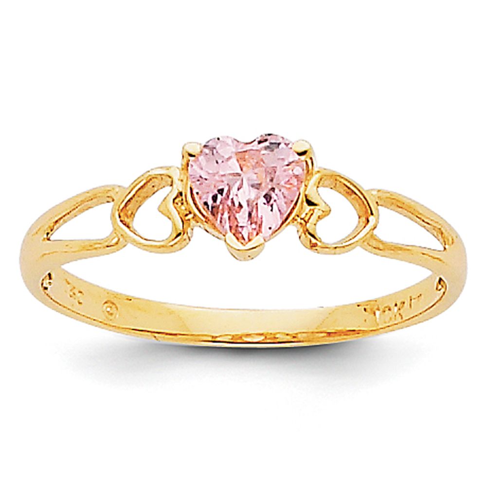 14k Yellow Gold Pink Tourmaline Birthstone Ring XBR163 Size 7 by