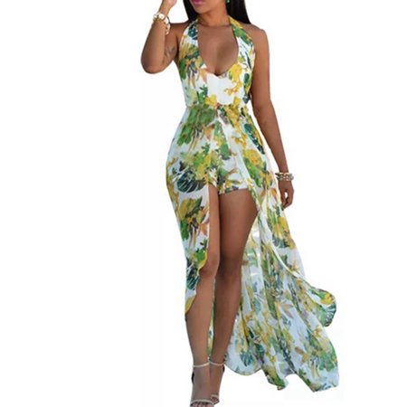 Boho Women Floral Print Halter V Neck Long Maxi Romper Summer Sleeveless Skirt Beach Sundress Holiday Dress