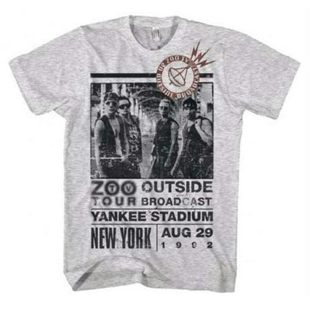 Live Nation Lnm 2U109 L U2 Outside Zoo Tour Slim Fit T Shirt   Heather White   Large