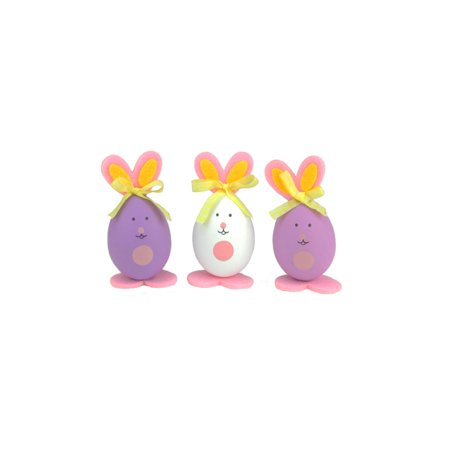 Set of 3 Pink Purple and White Striped Easter Egg Bunny Spring Figure Decorations 3.5""